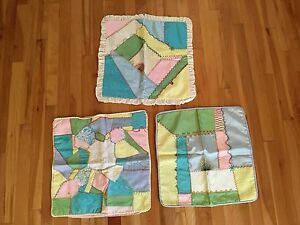 Lot Of 3 Vintage Antique Victorian Embroidered Crazy Quilt Pillow Covers 18x18