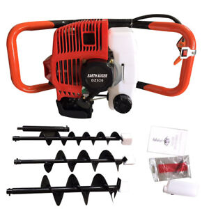 52cc Gas Powered Post Hole Digger Earth Auger Borer 3 Drill Bit W extension Bar
