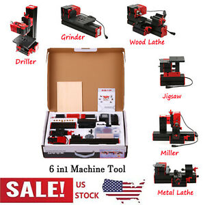 Mini Diy 6 In 1 Plastic Metal Lathe Rilling Sanding Turning Milling Tool Kit Us