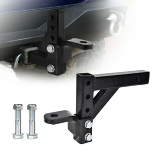 Adjustable Dual Ball Mount Trailer Drop Hitch Tow 2 Receiver Towing System Car