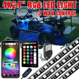 4x 24 Led Golf Cart Under Glow Neon Light Kit Bluetooth For Caddy Club Car Ezgo