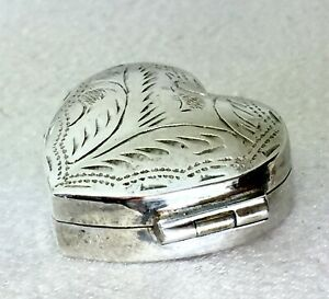 Antique Sterling Silver Heart Shaped Medicine Box With Engraved Pattern