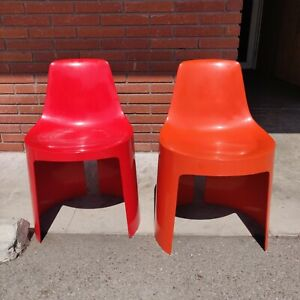 Mid Century Modern Orange And Red Stacking Chairs By Umbo