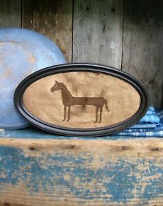 Cross Stitch Sampler Antique Tin Frame Primitive Horse Free Shipping