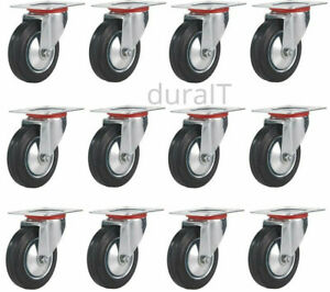 12 Pcs 3 Inch Swivel Caster Wheel Rubber Base Top Plate Ball Bearing Heavy Duty