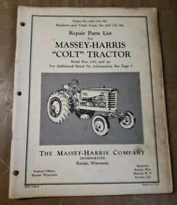 Massey Harris colt Tractor Repair Parts List 1j 2478 y15