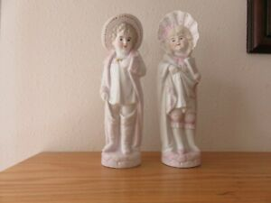 Antique Pair Of Bisque Figurines Beautifully Painted 8 Inches
