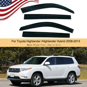 For 2008 2013 2012 Toyota Highlander Window Visor Rain Guard Shade Door Weather