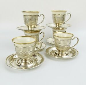 6 Demitasse Set Whiting Co Sterling Cups Saucers W Lenox Liners Ex Cond