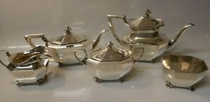 5 Piece 1939 Reed Barton Sterling Silver Tea Pot Coffee Set Model 655
