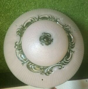 Vintage Ceiling Light Fixture Glass Shade Pink