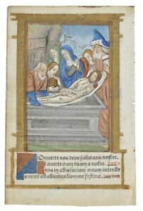 Printed Book Of Hours Leaf Illuminated Miniature C1500 The Entombment Of Christ