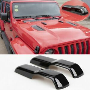 Front Hood Water Spray Nozzle Panel Cover For Jeep Wrangler Jl 2018 19 Abs Black