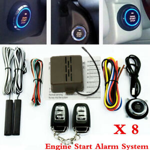 8x Car Alarm Start Security System Key Passive Keyless Entry Push Button Remote