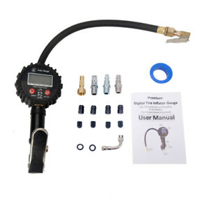 250 Psi Lcd Digital Pressure Gauge Air Tire Inflator Dual Air Chuck For Vehicles