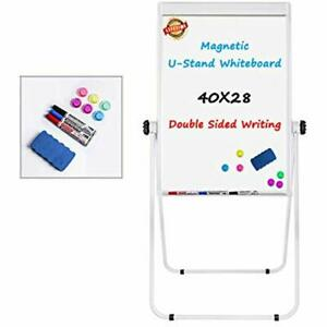 Dry Erase Boards Stand White 40x28 Magnetic Board Flip Chart Pad Double 360