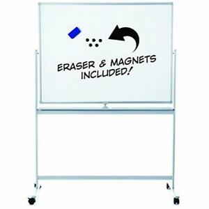 Dry Erase Boards Large Rolling Whiteboard With Stand Easy Clean 48x36 Flip over