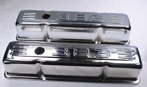 1958 1986 Sbc Chrome 383 Logo Tall Valve Covers Chevy 283 327 350