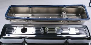 58 86 Sbc 383 Logo Chrome Short Valve Covers W gaskets Small Block Chevy 283 32