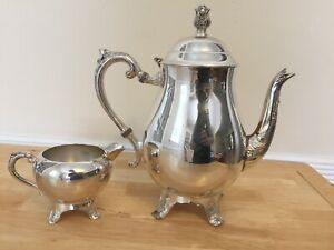 F B Rogers Silver Co Teapot And Creamer Used Silver Plated Antique Vintage