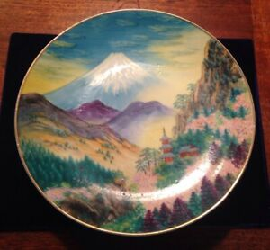 Japanese Plate Mt Fuji Signed Hand Painted