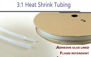 20ft 1 4 diameter 3 1 Polyolefin Heat Shrink Tubing Clear Adhesive Glue Lined