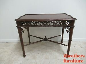 Ethan Allen Pierce Carved Newport Gillian Tea T Console Center Table