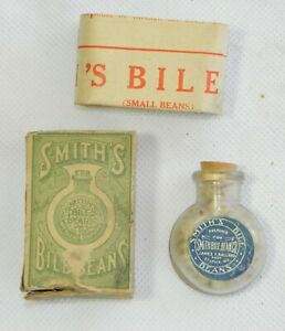Smith S Bile Beans Bottle Box Directions Contents Antique Medicine Apothecary