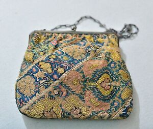 Antique Lester Silver Purse With Early Zand Qajar Afshar Textile Embroidery