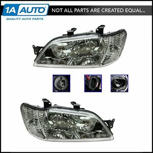 Headlights Headlamps Left Right Pair Set New For 02 03 Mitsubishi Lancer
