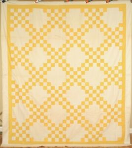 Well Pieced Vintage 30 S Yellow White Triple Irish Chain Antique Quilt Top