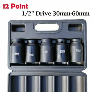 5 Piece 12 Point Axle Hub Nut Socket Set 1 2 Drive Impact Sockets Kit 30 36mm