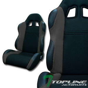 Ts Sport Blk Gray Cloth Fabric Reclinable Car Racing Bucket Seats Slider L R T01