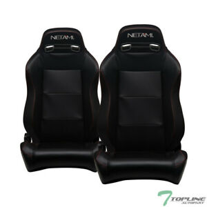 Topline For Ford T3c 2x T R Pvc Leather Red Stitch Racing Seats Slider V2 Black