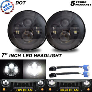 Pair Black 7 Round Led Hi lo Sealed Beam Headlights For Chevy Pickup Truck 3100