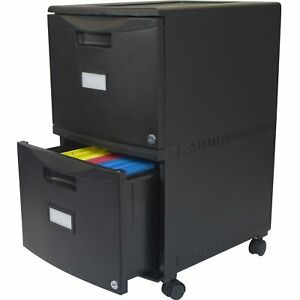 Black 2 drawer Locking Letter legal Size File Cabinet With Casters wheels