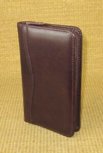 Pocket Size Burgundy Leather Day timer Wire Bound Planner Zip Cover Compass