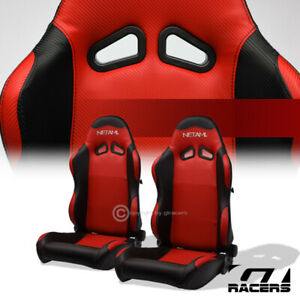 2pc Sp Blk red Pvc Leather Stitch Reclinable Racing Seats For Mitsubishi Nissan