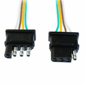 4 Pin Plug Trailer Light Wiring Harness Extension Flat Wire Connector 2ft 18awg