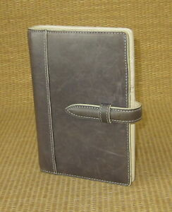 Pocket 5 Rings Gray distressed Leather Franklin Covey Open Planner binder