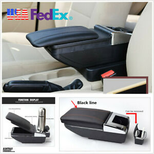 Universal Adjustable Black Pu Leather Car Center Console Armrest Box Cup Holder