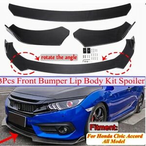 Carbon Fiber Look Front Bumper Lip Spoiler Chin Body Kit For Honda Civic Accord
