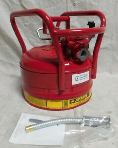 Justrite 7350210 2 1 2 Gallon Galvanized Steel Red Flammable Can