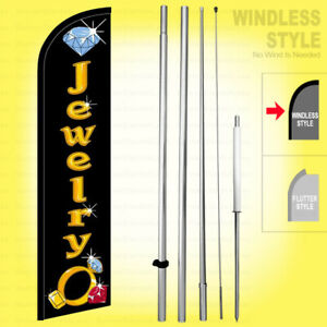 Jewelry Windless Swooper Flag Kit 15 Feather Banner Sign Kf h