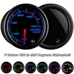 2 52mm Water Temp Gauge Meter 100 300 F Water Coolant 7 Colors Led Universal