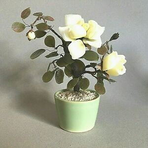 Vintage Jade Glass Bonsai Tree Japanese Art Oriental Flower Blossom Pot