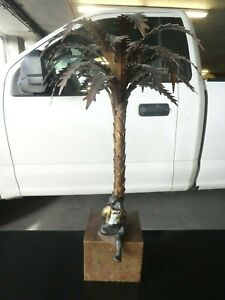 Vintage Large Tole Palm Tree Candle Holder With Sitting Monkey