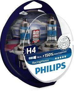 150 Philips H4 Racing Vision Pair 2 Car Bulbs Xtreme Lamps Racingvision