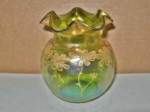 Phenomenally Exquisite Iridescent Glass Vase Hand Painted Gold Art Nouveau Moser