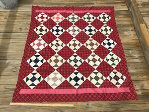 Antique Quilt Top Red Plaid Blue Brown And White Signed Friendship